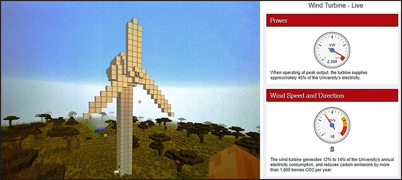 A Minecraft wind turbine, modeled after a real instrument at Lancaster University.