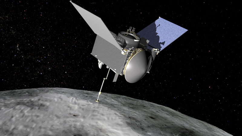 Artist's rendering of the OSIRIS-REx spacecraft orbiting above the asteroid Bennu