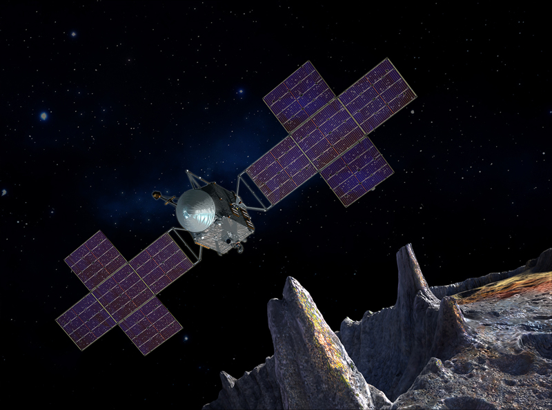 Artist's rendering of the Psyche spacecraft orbiting asteroid Psyche
