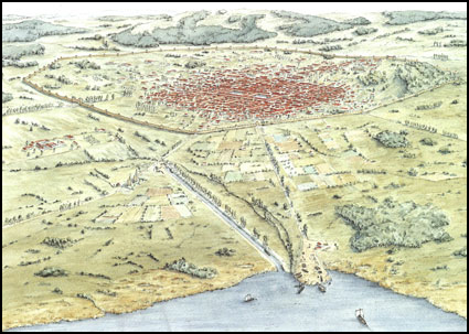 An illustration of the ancient capital of Roman Switzerland, Aventicum, showing nearby Lake Murten.