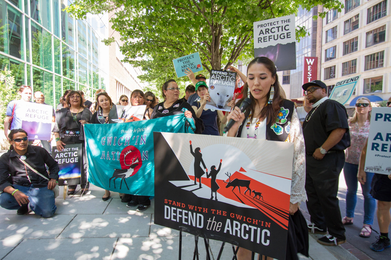 Bernadette Demientieff, executive director of the Gwich'in Steering Committee, speaks in Washington, D. C., to protect ANWR.