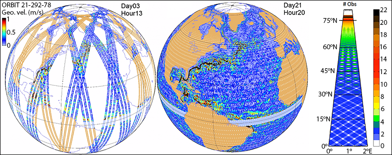 SWOT's nominal orbit coverage up to 78°N and 78°S after 3 days and the full 21 days of a complete cycle.