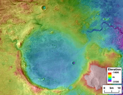 Elevation map of Jezero crater showing inlet and outlet rivers