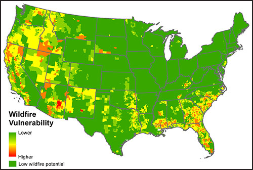 A map of wildfire vulnerability across the United States, calculated from hazards and socioeconomic factors.