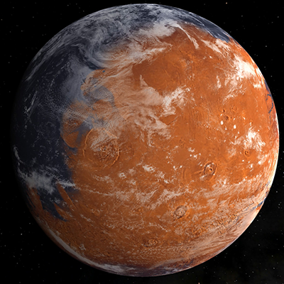 This artist's conception, based on Mars's current topography, shows an early, wetter Mars with a thicker atmosphere.