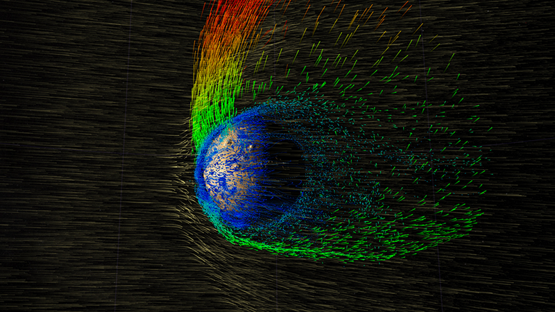 The solar wind strips electrically charged oxygen ions from Mars's atmosphere.