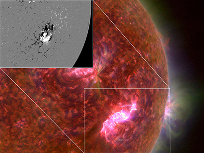 Two images show magnetic activity behind coronal loops on the Sun's surface