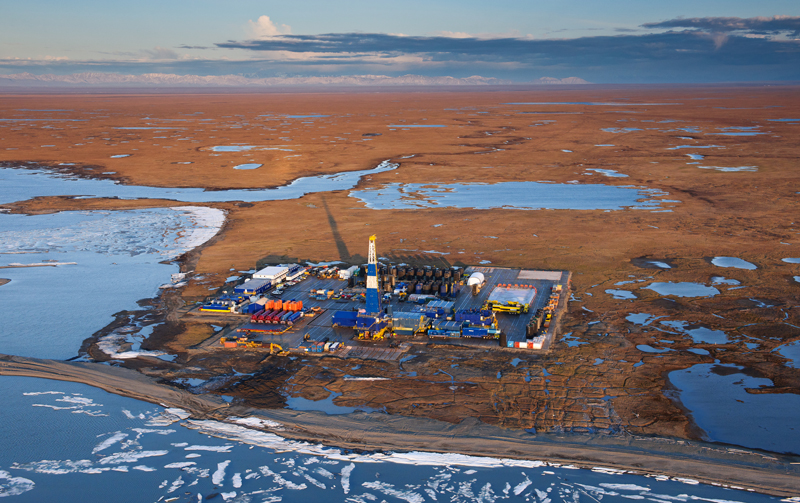 Oil and gas development on the edge of the Arctic National Wildlife Refuge.