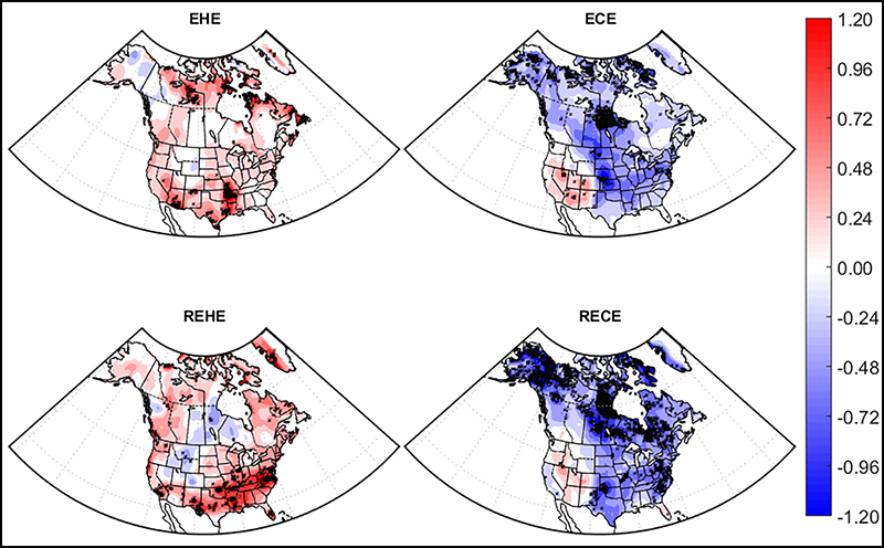 Trends in Extreme Heat Events, Extreme Cold Events, Relative Extreme Heat Events, and Relative Extreme Cold Events in days per decade, 1980–2016.