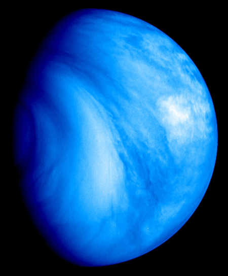 View of Venus's southern hemisphere in ultraviolet light