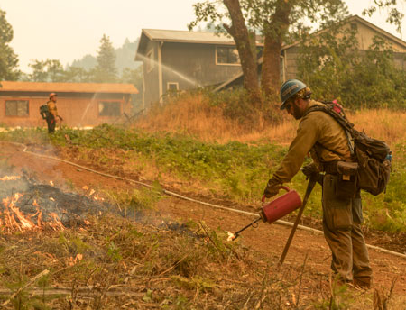 Fire prevention workers remove dry brush near a residential area during the 2018 Taylor Creek and Klondike fires in Oregon.