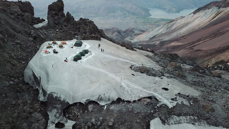 Base camp in the crater of Mount St. Helens in August 2018.