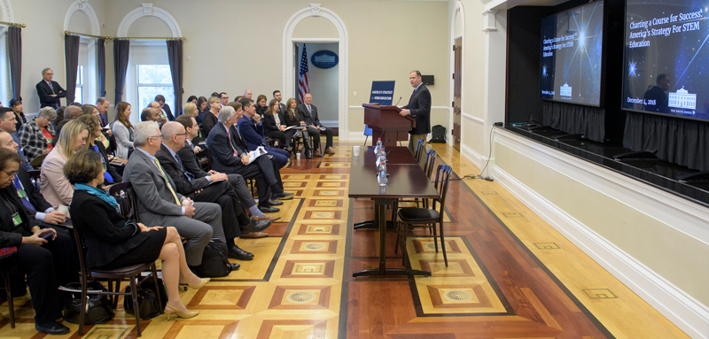 NASA head Jim Bridenstine speaks about NASA's commitments to the White House–led strategic plan to strengthen STEM education.