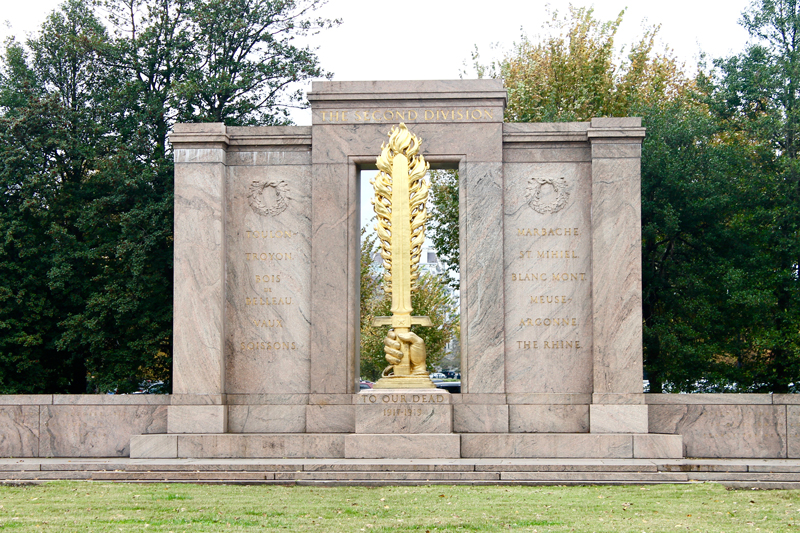 D. C.'s Second Division Memorial, honoring soldiers who fought in World War I, built from 3.5-billion-year-old Morton gneiss.