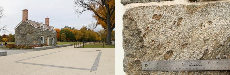 D. C.'s Lockkeeper's House (left). Deformed pebbles in a block of Potomac bluestone (right).