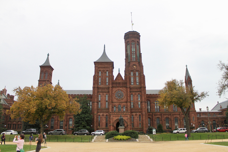 The Smithsonian Castle is built from Seneca red sandstone, also found in other distinctive buildings in Washington, D. C.