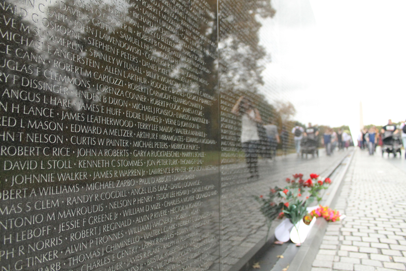D. C.'s Vietnam Veterans Memorial. The reflective surface is made from highly polished ultramafic gabbro.
