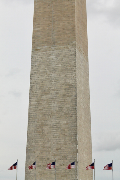 The distinct color change in Washington Monument's rocks marks the transition in marble sourcing during D. C.'s Civil War era