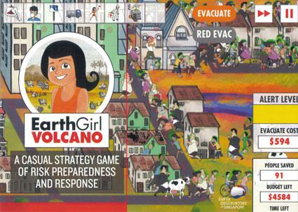Earth Girl Volcano saving a village from volcano hazards