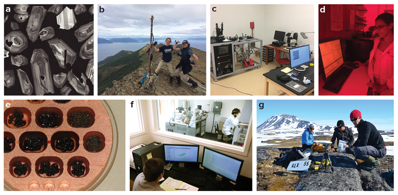 Figure showing seven examples of geochronology now funded by NSF