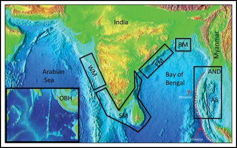 Tectonics, paleoceanography, and paleoclimate regions around the Indian margin