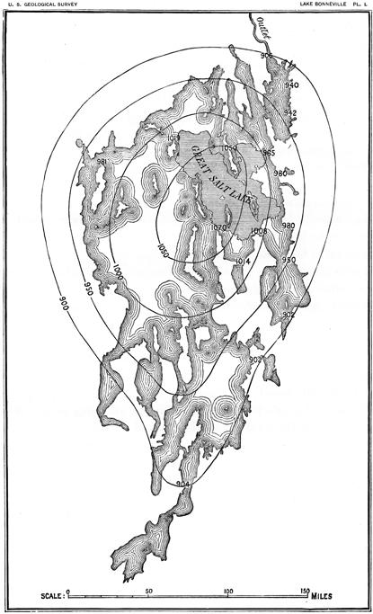 Handdrawn map from geomorphology pioneer Gilbert's landmark 1890 report on the ancient Lake Bonneville