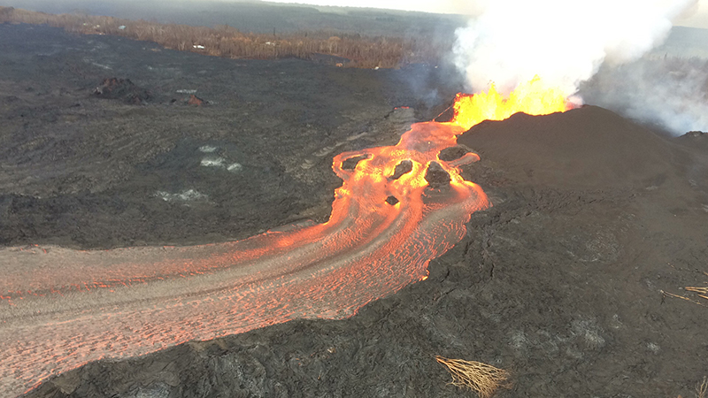 Fast, hot lava flows from fissure 8 of Kīlauea's lower East Rift Zone streamed to the sea.