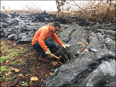 Scientists also collected samples of Kīlauea lava that had solidified on its own in the field.
