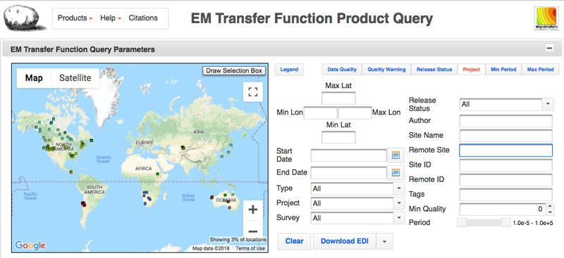 Snapshot of the EMTF XML query page.