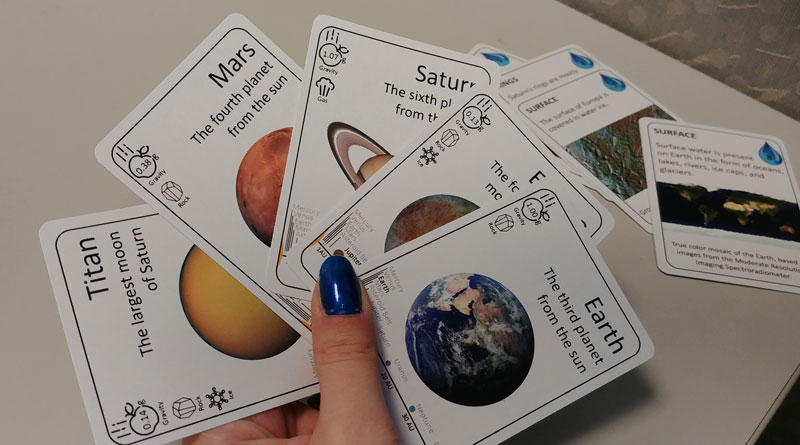 Planetary Cards for Earth, Enceladus, Saturn, Mars, and Titan