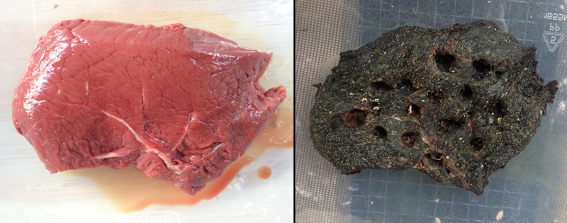 Beef steaks in the 2017 experiment after 1 day and 15 days.