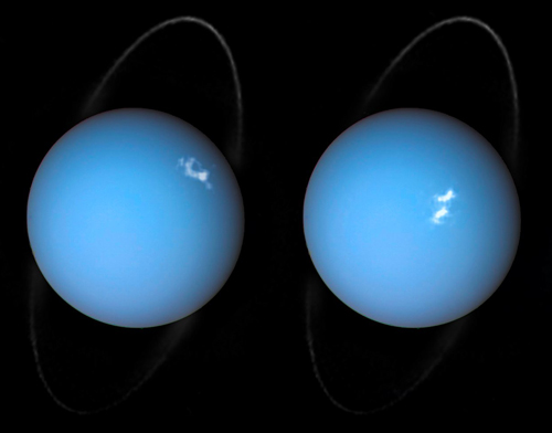 Uranus's aurora and rings seen by the Hubble Space Telescope