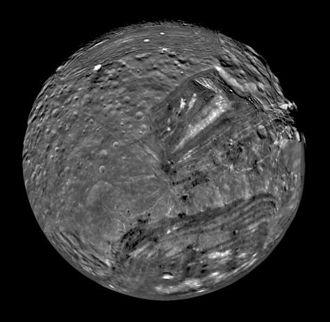 A Voyager 2 image of Uranus's moon Mirand