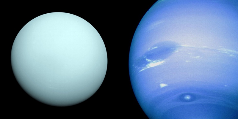 Uranus and Neptune imaged by Voyager 2