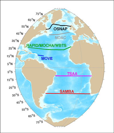 A map of the existing Atlantic meridional overturning circulation moored arrays
