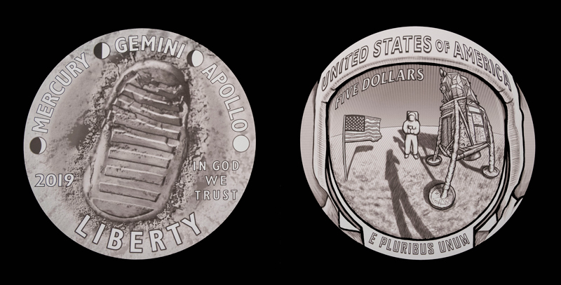 Obverse and reverse sides of the Apollo 11 50th anniversary commemorative coin