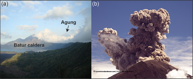 Bali's Agung volcano and Batur crater, and 2018 eruption of Agung.