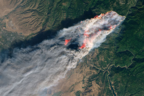 Landsat 8 photo shows smoke from the Camp fire near Paradise, Calif.