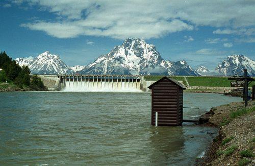 A view of Jackson Lake Dam in northwestern Wyoming
