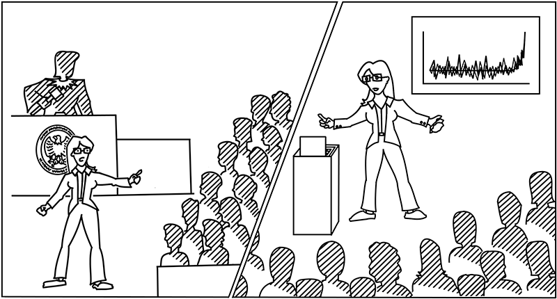Science presentations can be choreographed like a lawyer's closing statement