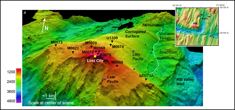 Bathymetry of the Atlantis Massif: 3-D terrain model with a northward view of the detachment fault surface.