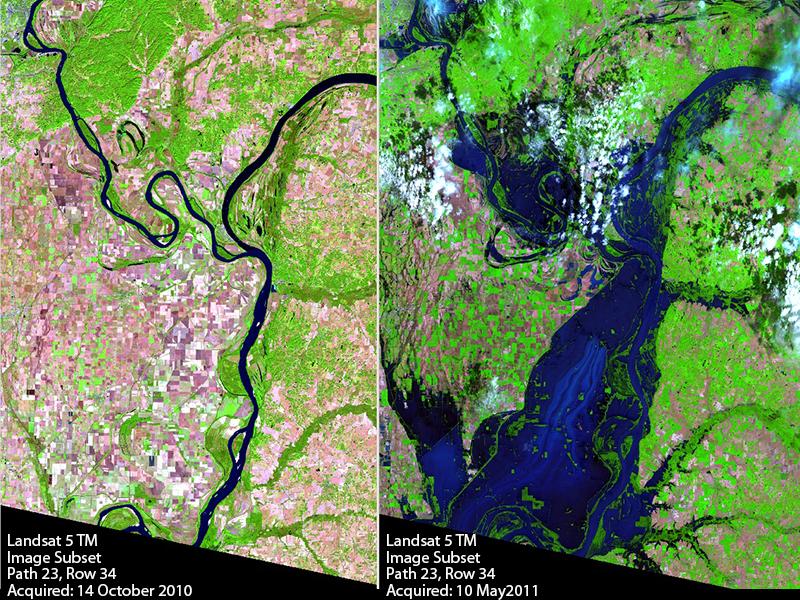 Landsat Ohio-Mississippi River flooding