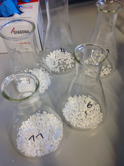 Testing samples of polyFR incorporated into polystyrene foam