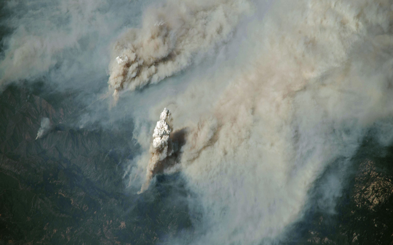 Pyrocumulus clouds from the Ferguson Fire in California in 2018