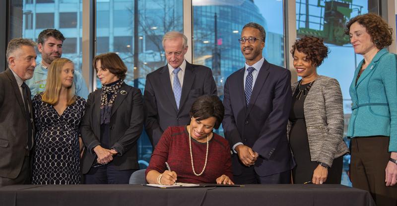 Washington D.C. mayor Muriel Bowser signs clean energy bill