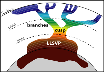 A simplified image showing the cusp and branches of the LLSVP that sits at the base of the mantle below Africa