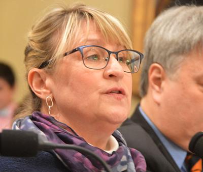 Deborah Bronk testifying on climate change in Congress