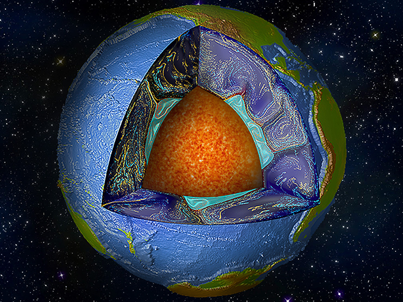 A cutaway of Earth showing mantle convection