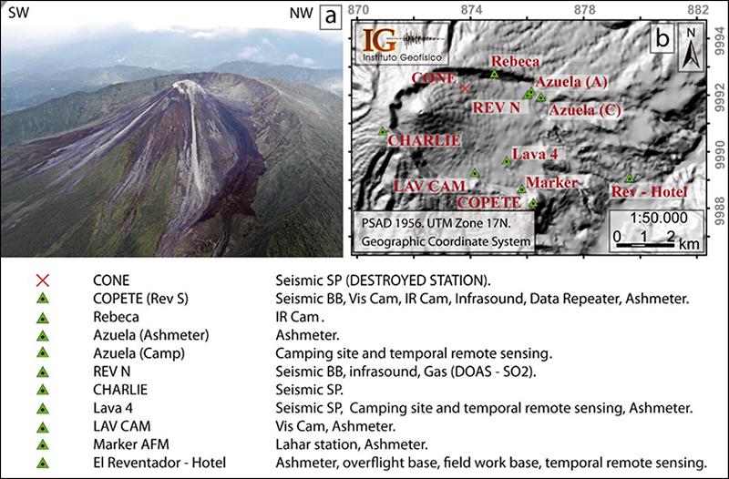 El Reventador volcano. Note the small stratovolcano inside the Paleo Reventador amphitheater.