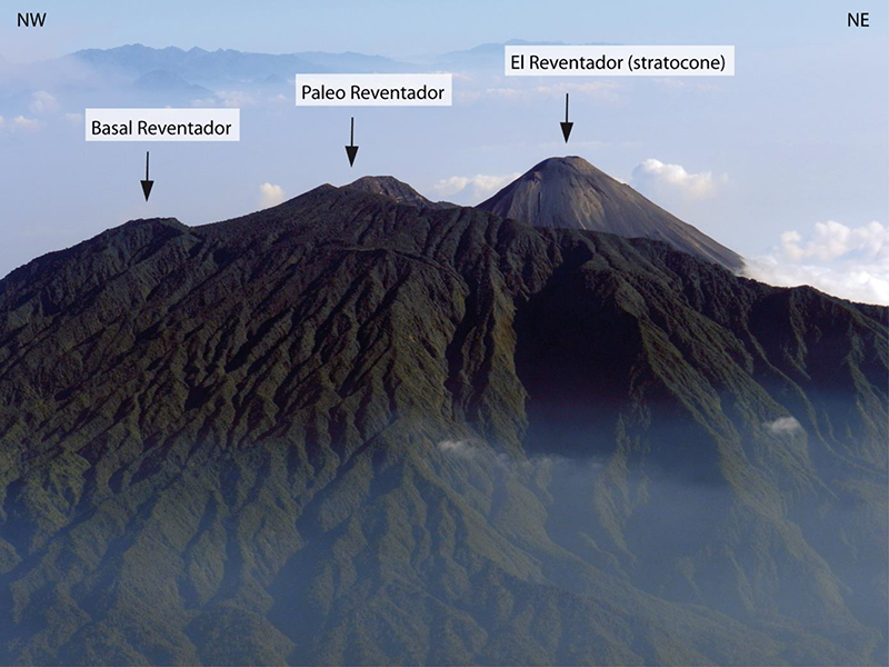 El Reventador volcano, showing the ridges of Basal Reventador, Paleo Reventador, and the new stratocone.